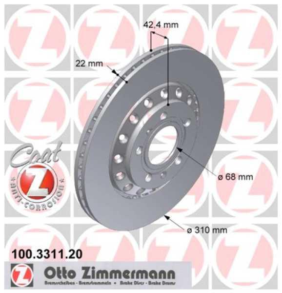 2x Audi A8 S8 quattro VW Phaeton 3.0 V6 TDI 4motion Bremsscheibe Zimmermann 310x22