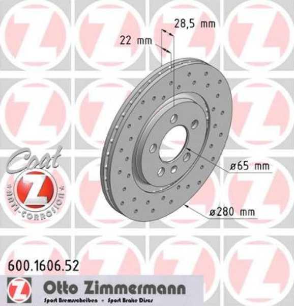 2x VW Golf VR6 GTI Bremsscheibe Zimmermann Sport 280x22 Corrado Seat Toledo