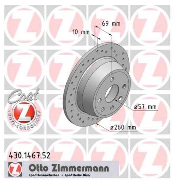2x Opel Astra F CC Vectra A CC 1.8i 2.0i 16V Bremsscheibe Zimmermann Sport 260x10