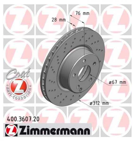 2x Mercedes-Benz S-Klasse Coupe S500 CL500 Bremsscheibe Zimmermann Sport 312x28