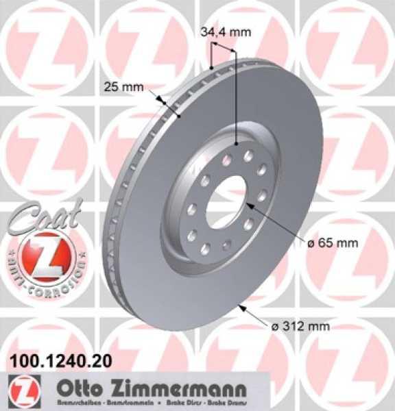 2x VW Golf Bora Audi TT A3 GTI S3 V6 Bremsscheibe Zimmermann 312x25 Skoda Seat Ibiza quattro