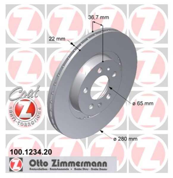 2x Bremsscheibe Audi VW A3 1.9 TDI quattro Golf 1.8 T GTI Zimmermann 280x22 Seat Skoda
