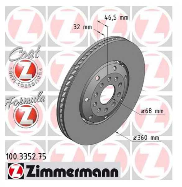 2xAudi A4 Avant RS4 quattro Bremsscheibe Zimmermann 360x32