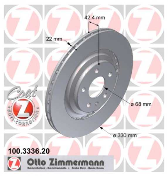 2x Bremsscheibe Audi A6 S6 quattro 3.0 TDI TFSI Zimmermann 330x22 Avant Allroad