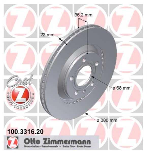 2x Audi A4 Avant Cabriolet 3.0 quattro TDI TFSI Bremsscheibe Zimmermann 300x22