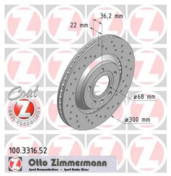 2xAudi A4 3.0 quattro TDI TFSI Bremsscheibe Zimmermann Sport 300x22