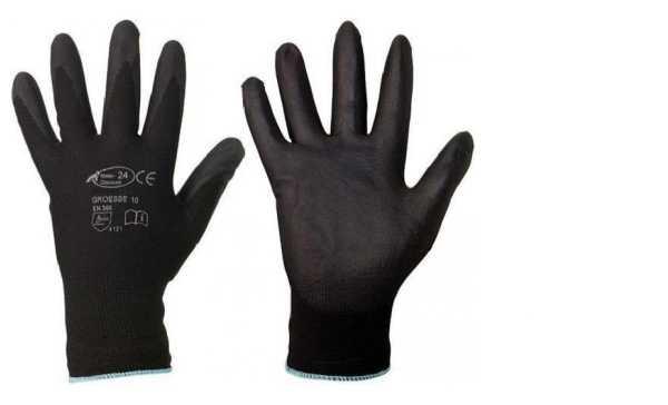 Handschuhe schwarz Gr.9/L Nylon Montagehandschuhe PU-beschichtung