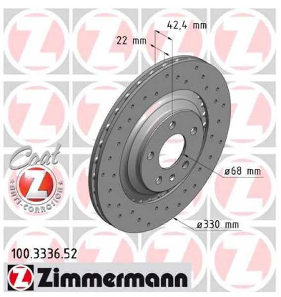 2x Bremsscheibe Audi A6 S6 quattro 3.0 TDI TFSI Zimmermann Sport 330x22