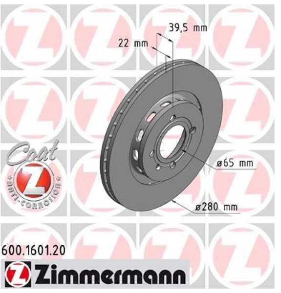 2x VW Golf GTI G60 Bremsscheibe Zimmermann 280x22 Corrado Seat Cordoba Syncro