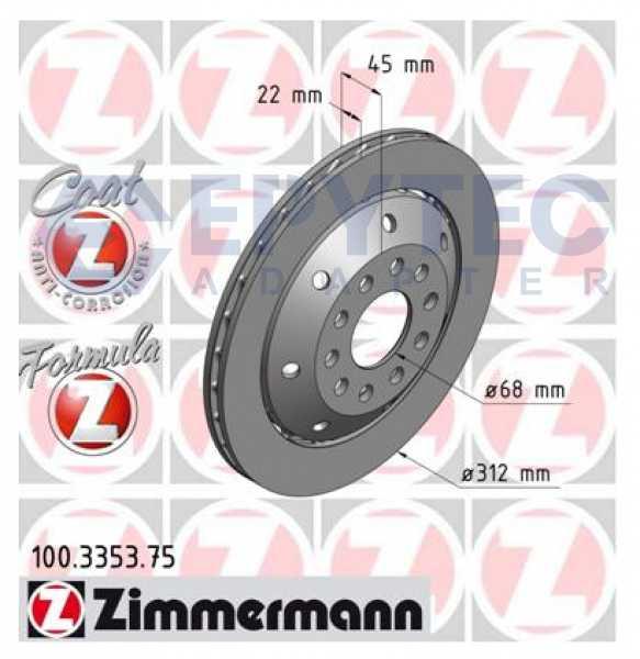 2xBremsscheibe Audi A4 Avant RS4 quattro Zimmermann 312x22