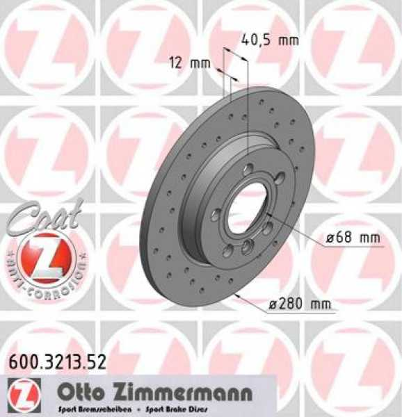 2x VW T4 Bus 1.9 TD 2.5 TDI Syncro 2.8 VR6 Bremsscheibe Zimmermann Sport 280x12