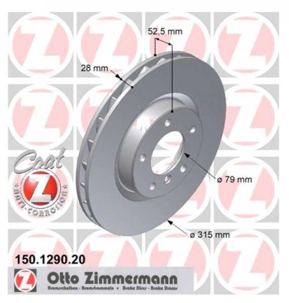 2xBMW 3 Coupe M3 3.0 E36 Bremsscheibe Zimmermann 315x28