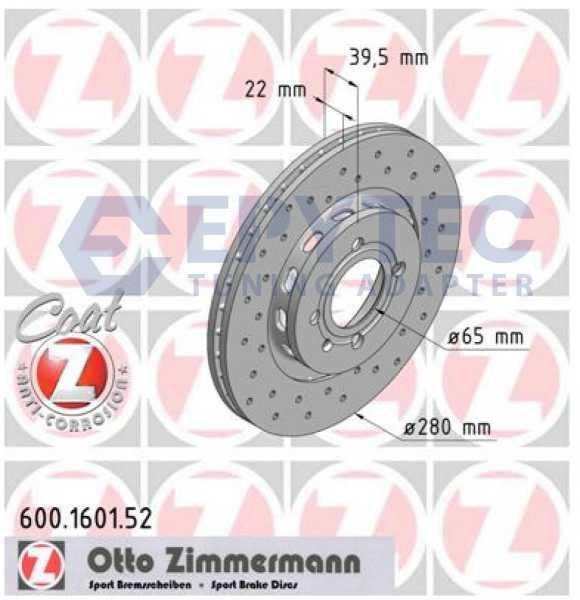 2x VW Golf GTI G60 Bremsscheibe Zimmermann Sport 280x22 Corrado Seat Cordoba Syncro