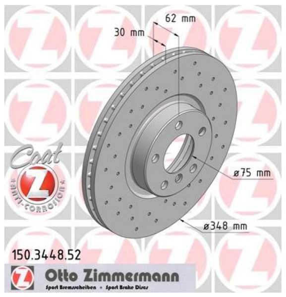 2xBremsscheibe BMW X5 X6 XDrive Zimmermann Sport 348x30 E70 F15 F85 E71 E72 F16 F86