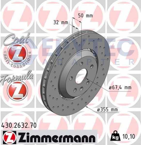 2x ZIMMERMANN Bremsscheiben SPORT-BREMSSCHEIBE COAT Z