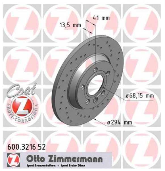 2x VW T4 Bus Sharan 2.5 TDI Syncro Bremsscheibe Zimmermann Sport 294x13,5 Ford Galaxy Seat Alhambra